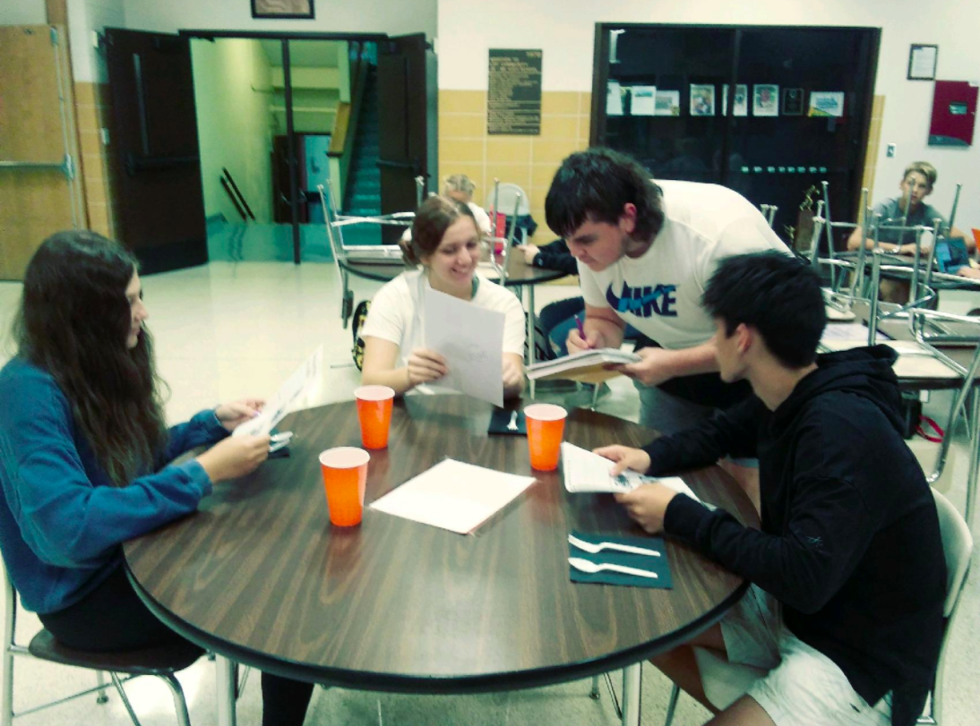 Spanish 3 students ordering from menu